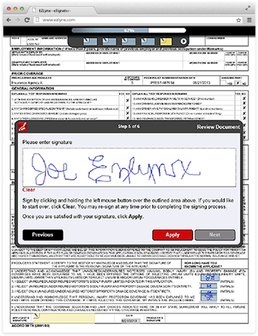 eSignature Screenshot