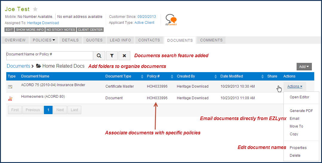 Documents Tab in EZLynx